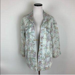 Zara Floral Print Oversized Denim Jean Jacket